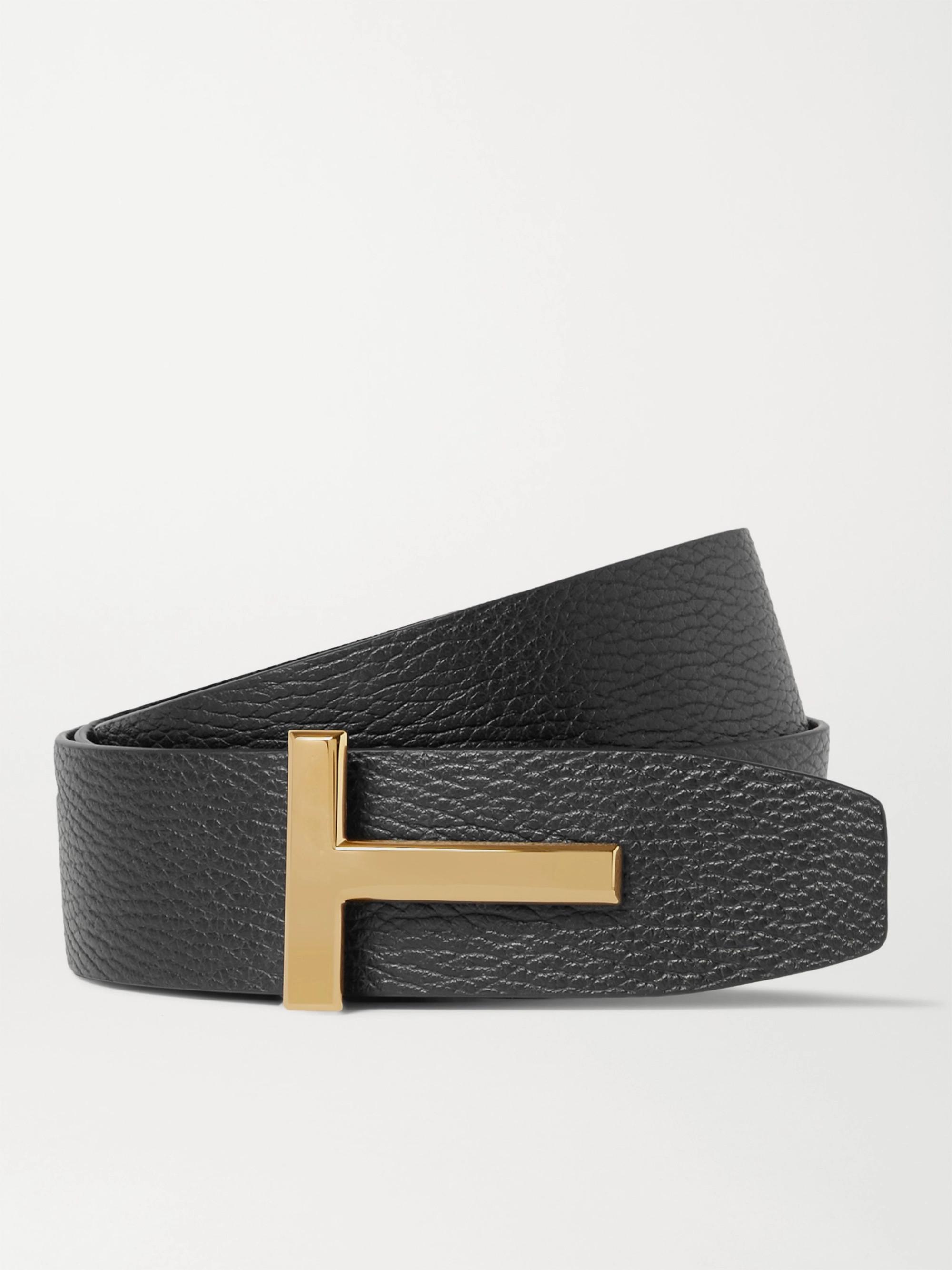 TOM FORD 4cm Black and Dark-Brown Reversible Full-Grain Leather Belt