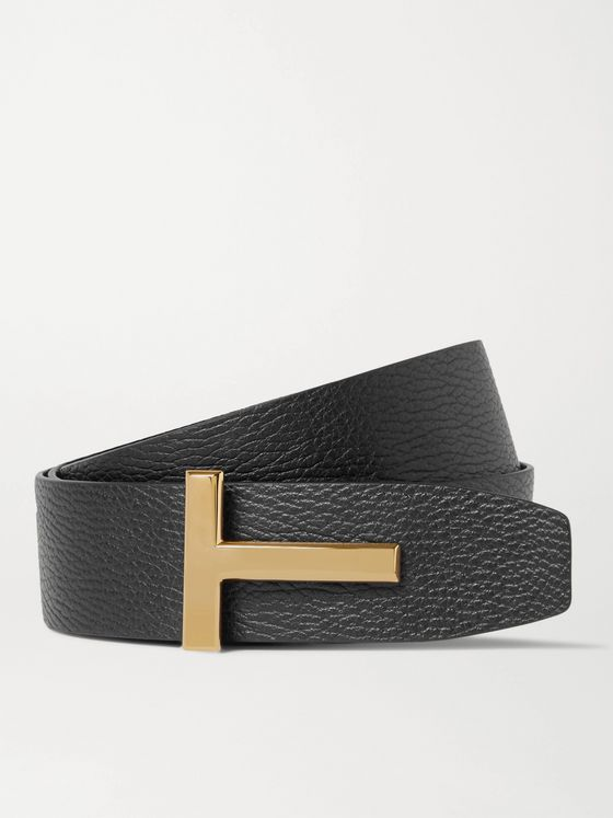 TOM FORD 4cm Black and Dark-Brown Reversible Full-Grain Leather Belt