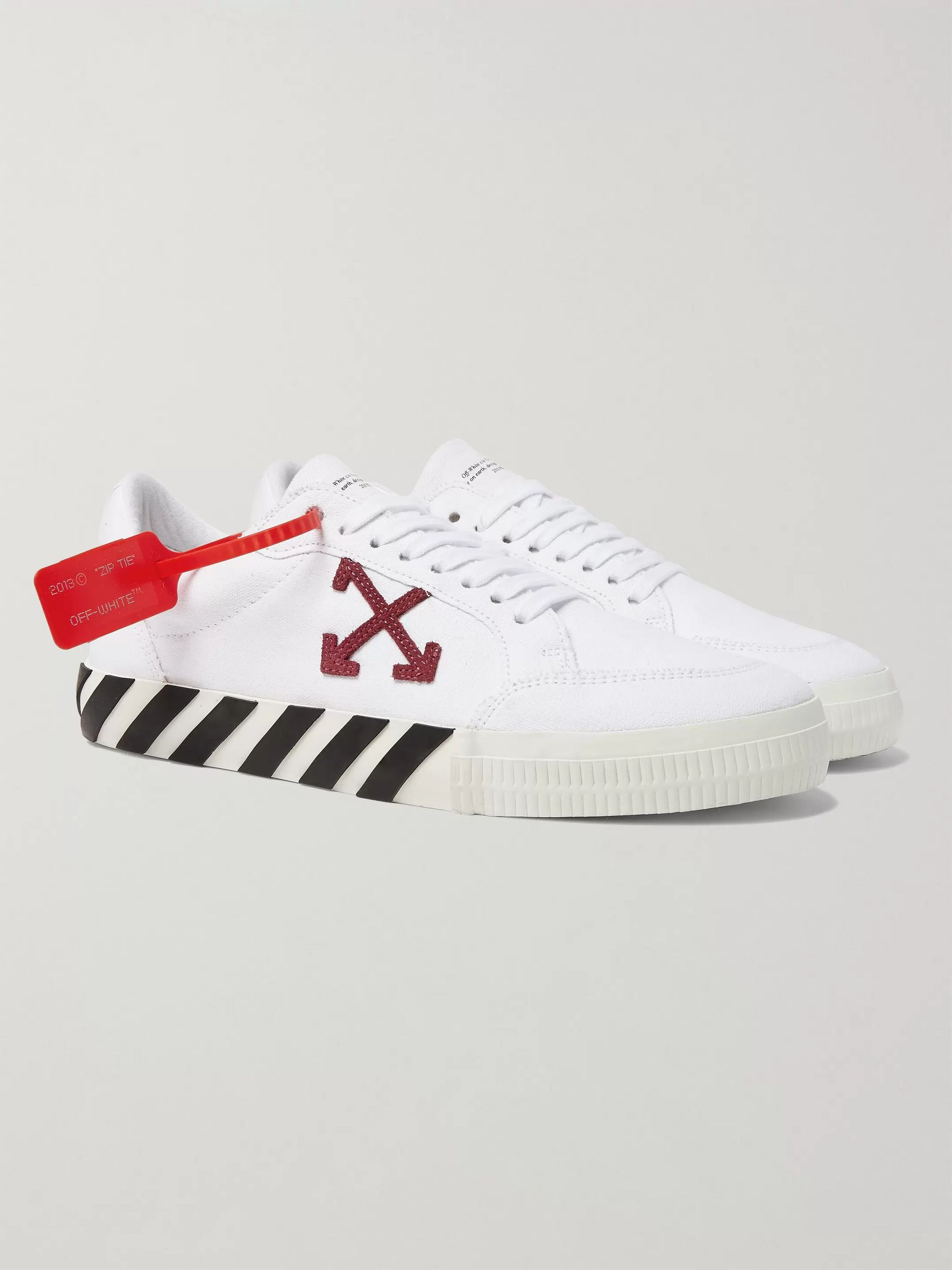 White Suede-Trimmed Canvas Sneakers