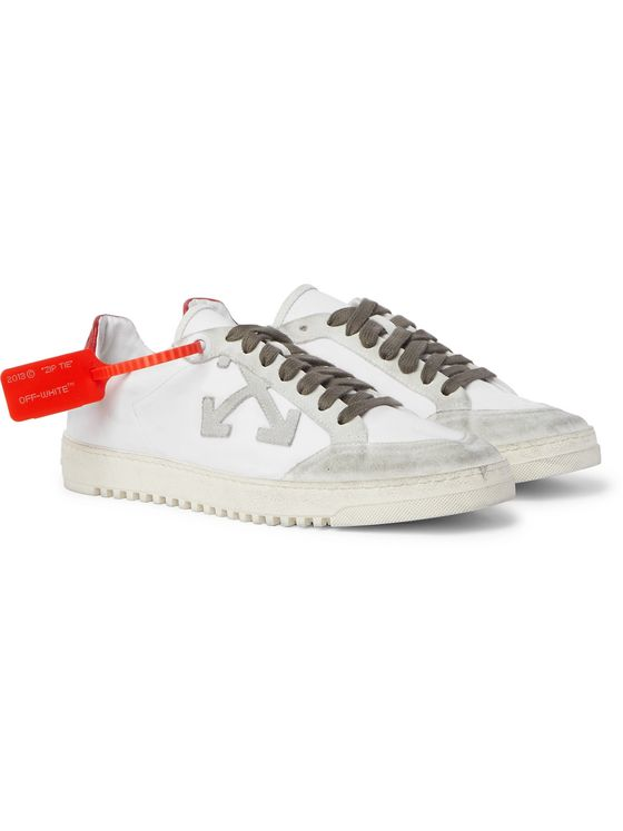 Off-White 2.0 Distressed Suede and Leather-Trimmed Canvas Sneakers