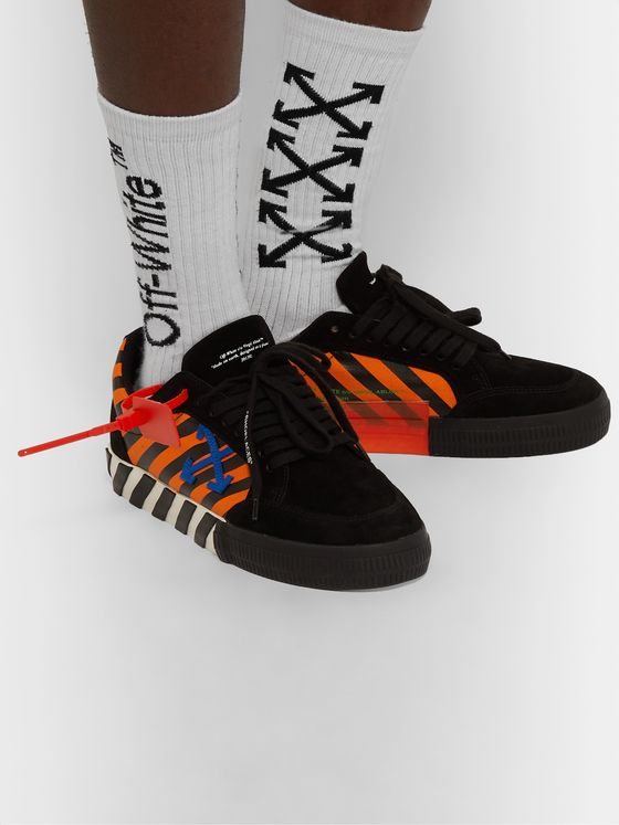 Off-White Striped Canvas and Suede Sneakers