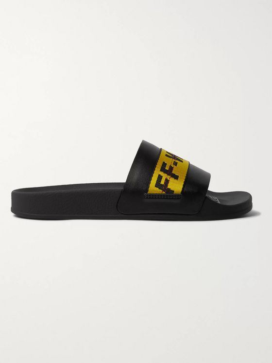 Off-White Logo Webbing-Trimmed Leather Slides