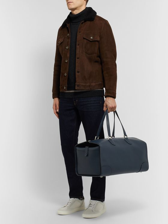 Valextra Boston Pebble-Grain Leather Duffle Bag