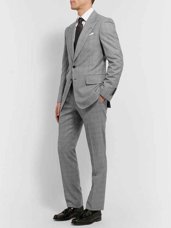 TOM FORD Slim-Fit Prince of Wales Checked Wool Suit Trousers
