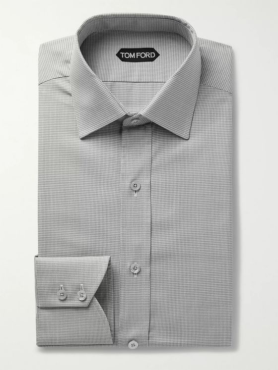 TOM FORD Grey Slim-Fit Puppytooth Cotton-Poplin Shirt
