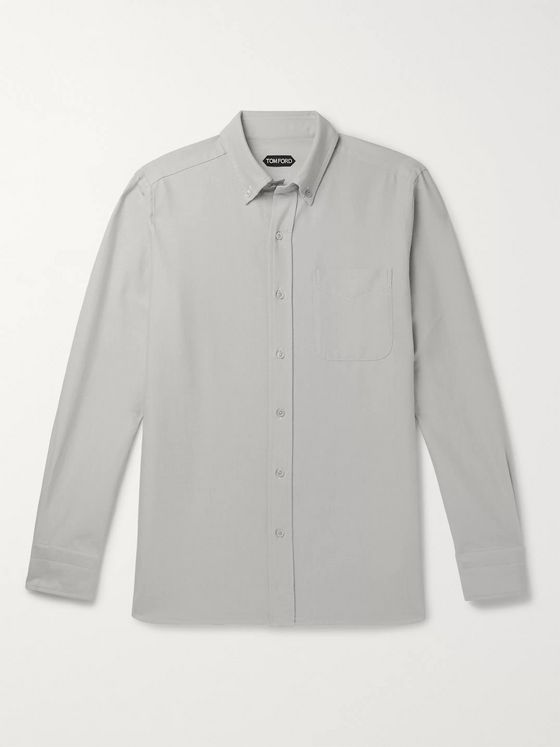 TOM FORD White Slim-Fit Cotton Oxford Shirt