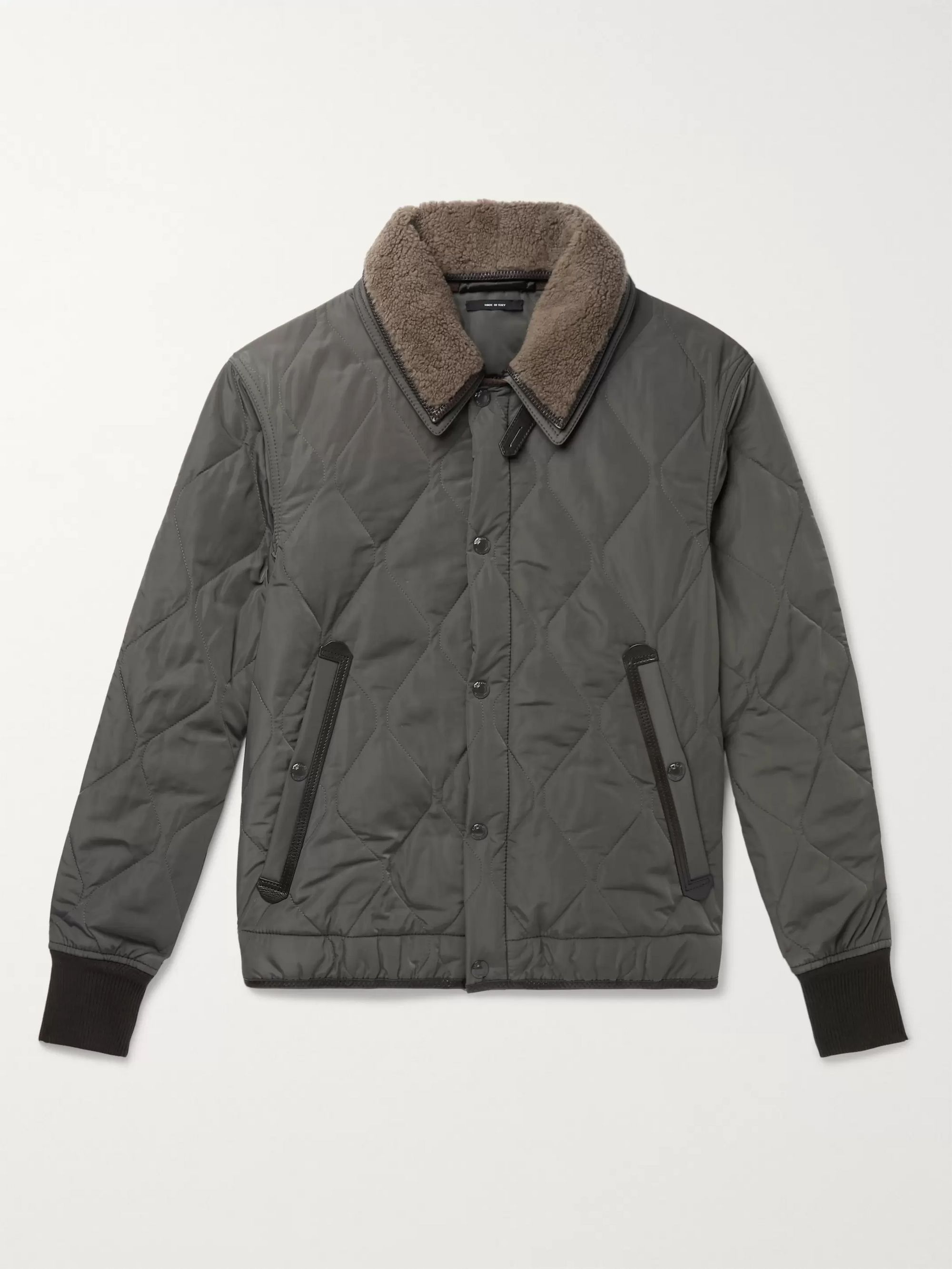 slim-fit-leather-and-shearling-trimmed-quilted-shell-jacket by tom-ford