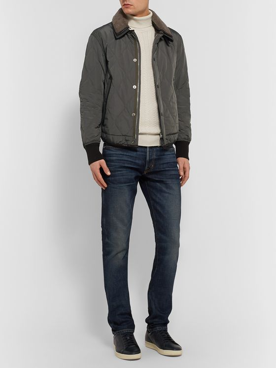TOM FORD Slim-Fit Leather and Shearling-Trimmed Quilted Shell Jacket