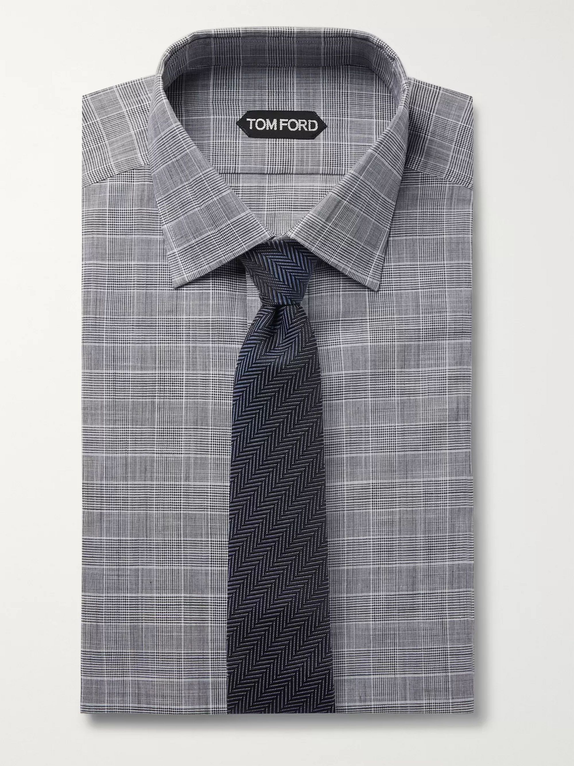 TOM FORD Grey Slim-Fit Prince of Wales Checked Cotton-Poplin Shirt