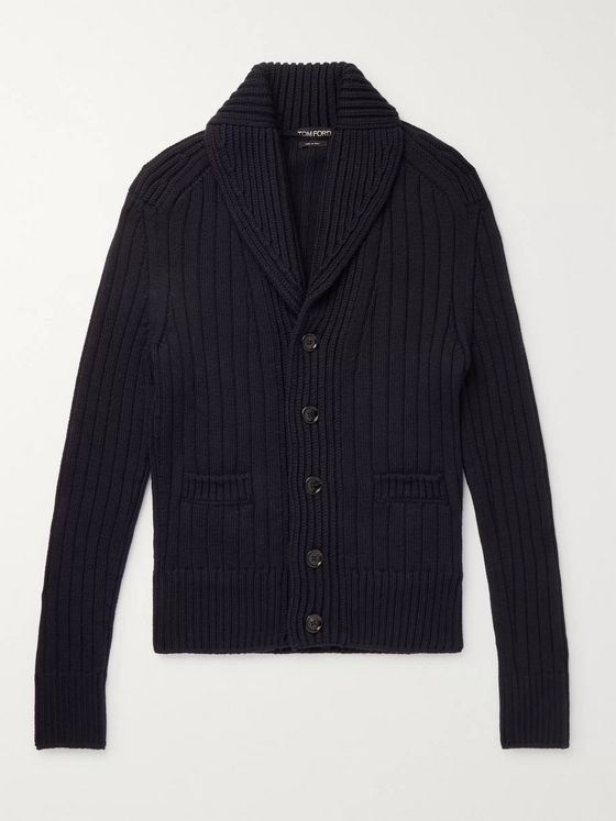 TOM FORD Shawl-Collar Ribbed Merino Wool Cardigan