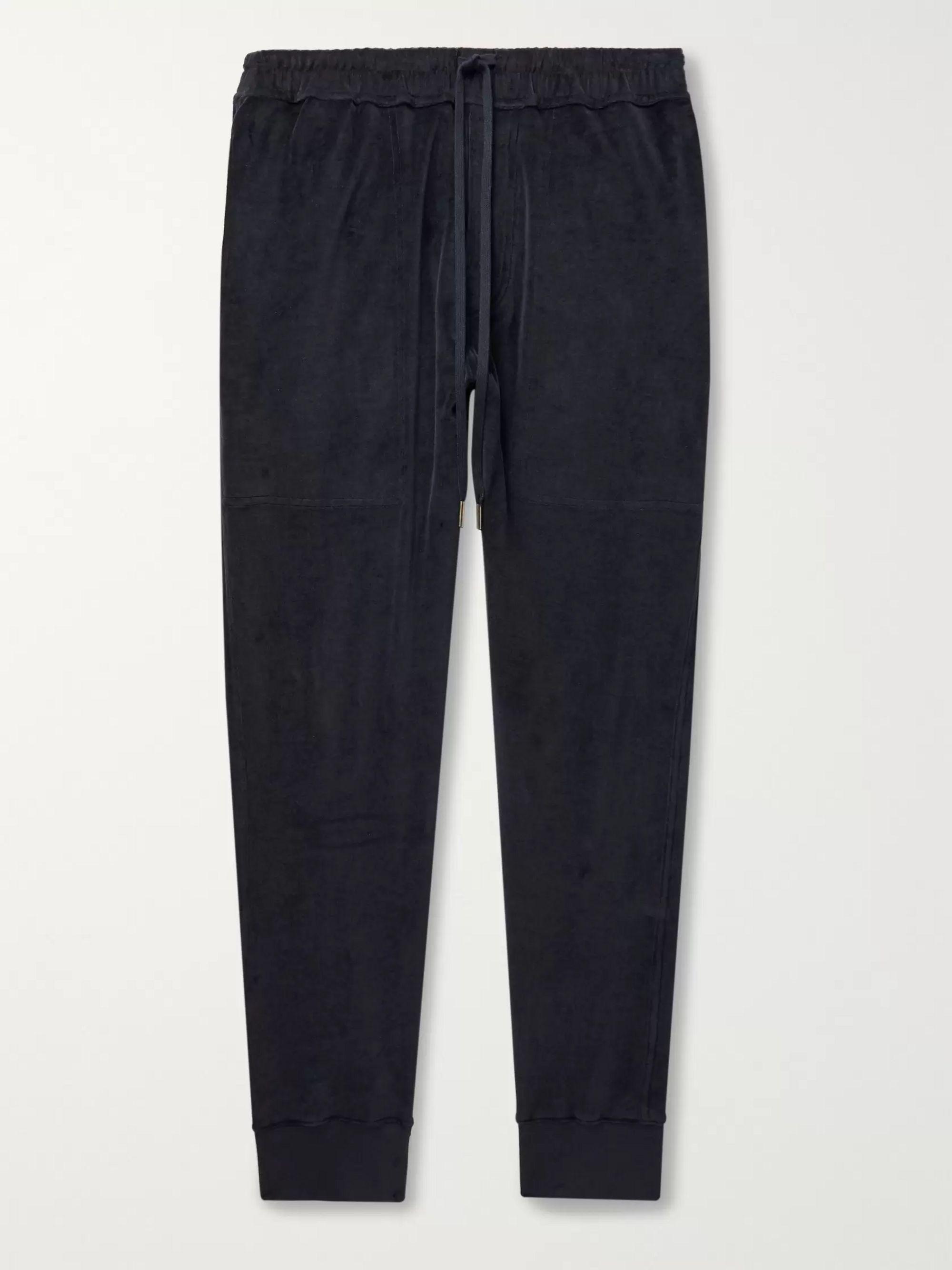 탐 포드 Tom Ford Midnight blue Tapered Cotton-Blend Velvet Sweatpants,Midnight blue