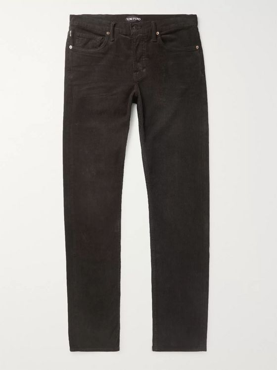 TOM FORD Charcoal Slim-Fit Cotton-Blend Corduroy Trousers