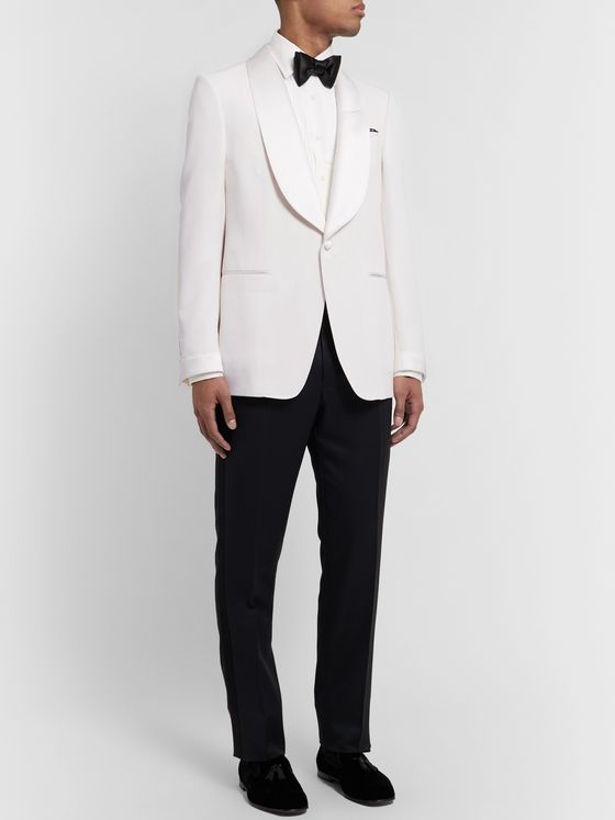TOM FORD Cream Shelton Slim-Fit Satin-Trimmed Wool and Mohair-Blend Tuxedo Jacket