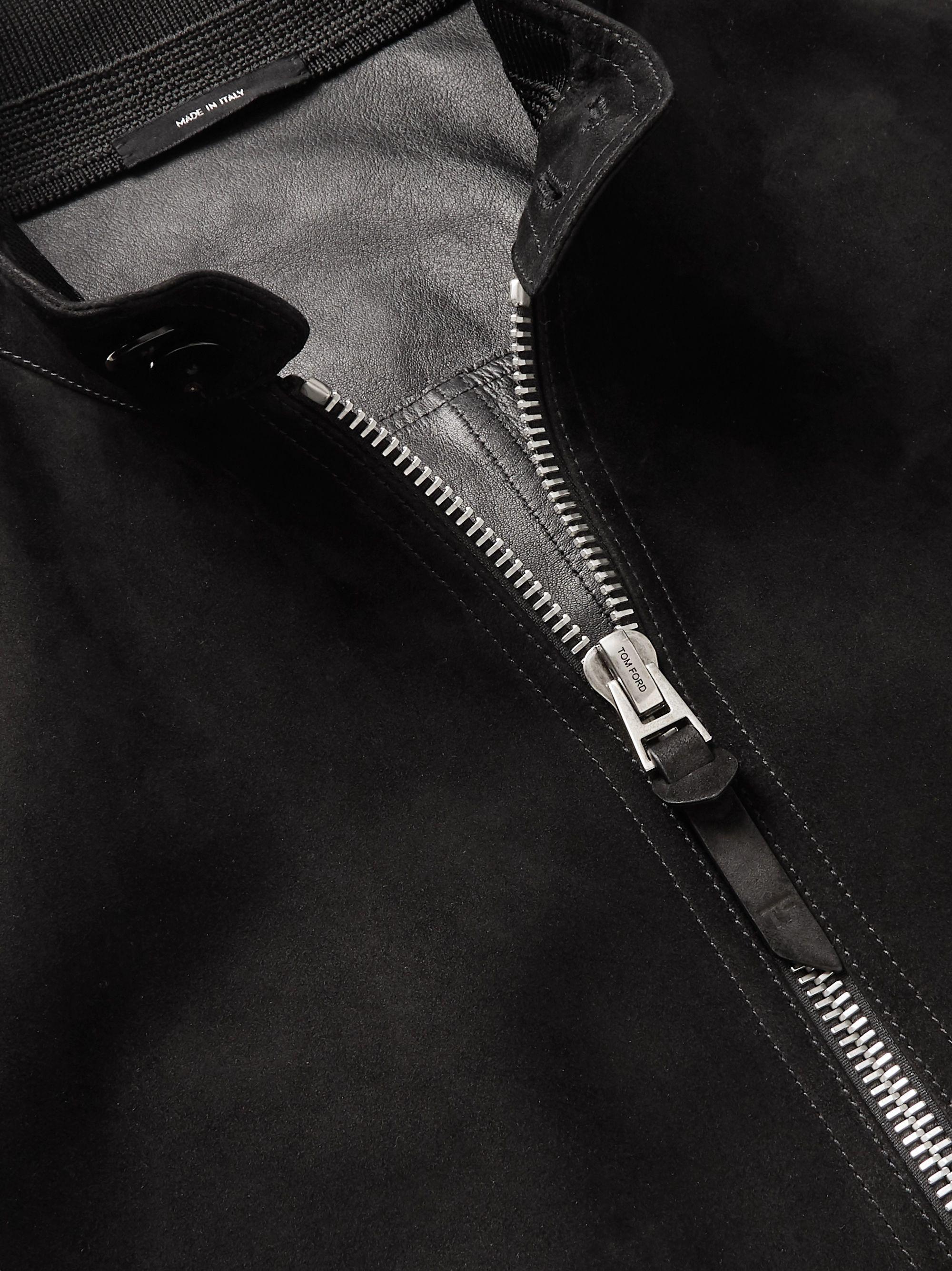 Black Suede Bomber Jacket | Tom Ford