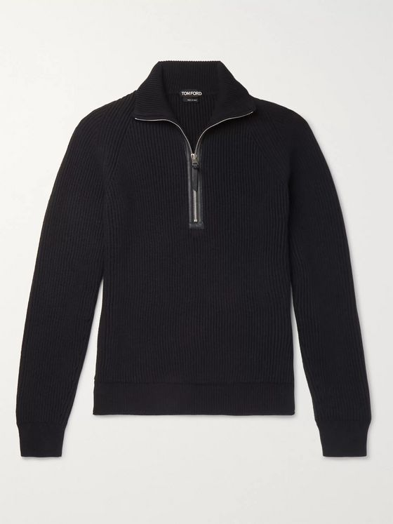 TOM FORD Leather-Trimmed Ribbed Merino Wool and Cashmere-Blend Half-Zip Sweater