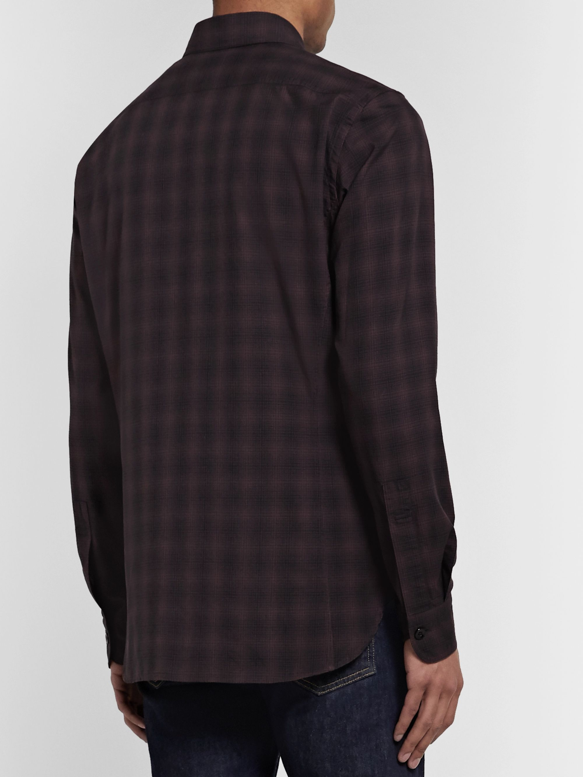 TOM FORD Button-Down Collar Checked Cotton-Poplin Shirt