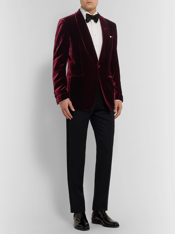TOM FORD Burgundy Shelton Slim-Fit Shawl-Collar Velvet Tuxedo Jacket
