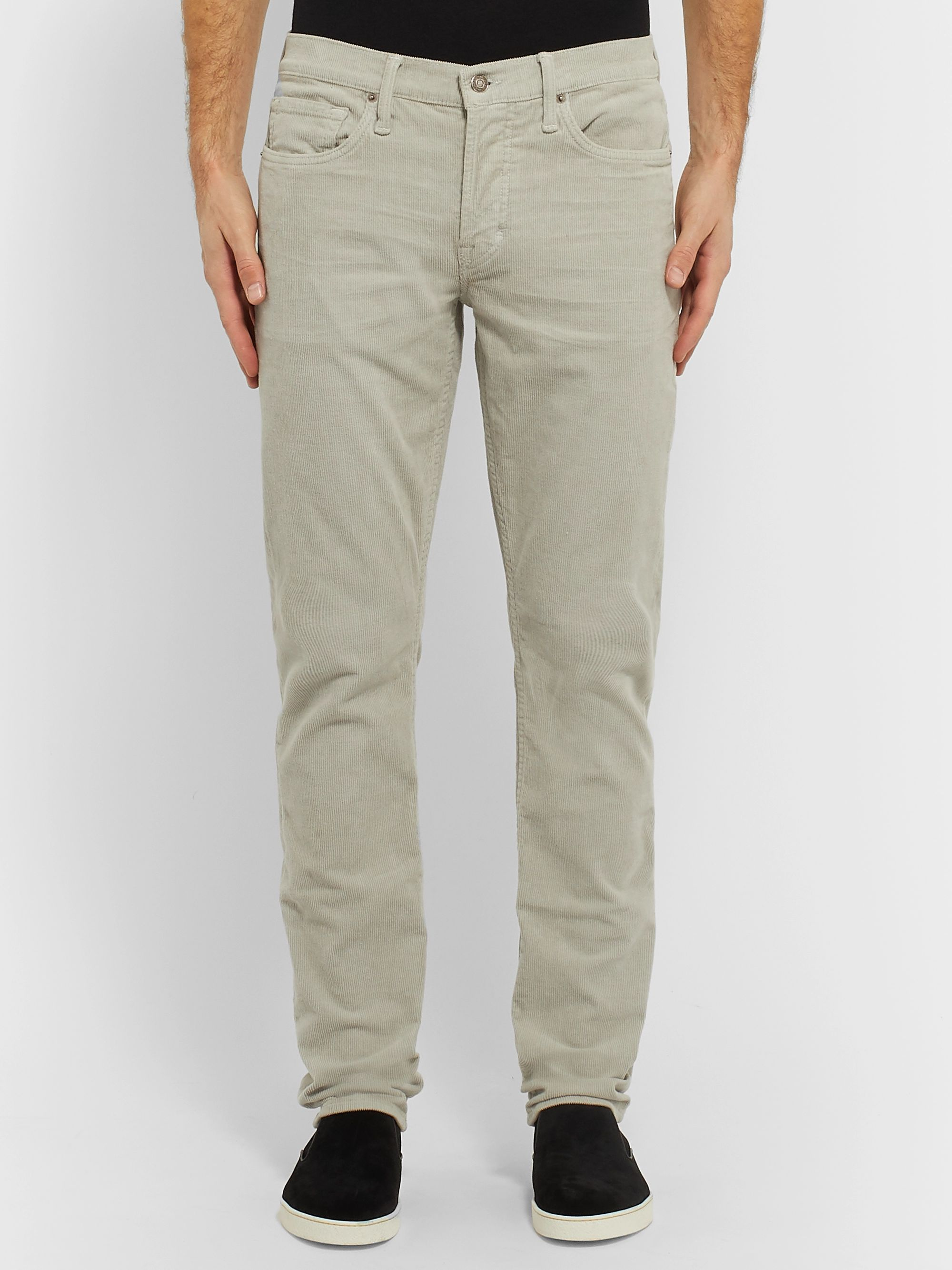 TOM FORD Navy Slim-Fit Cotton-Blend Corduroy Trousers