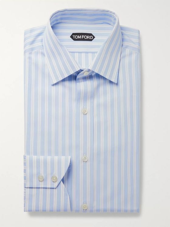 TOM FORD Light-Blue Slim-Fit Striped Cotton-Poplin Shirt