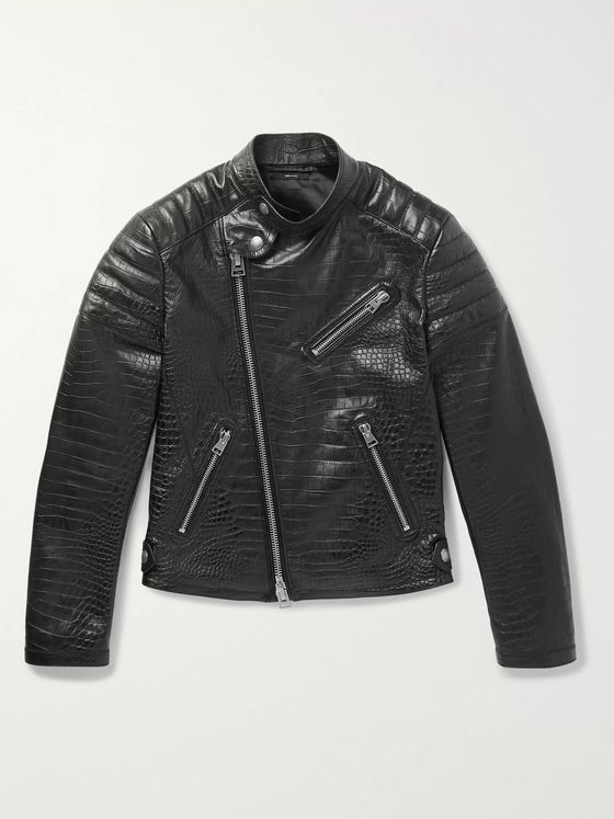 TOM FORD Slim-Fit Croc-Effect Leather Biker Jacket