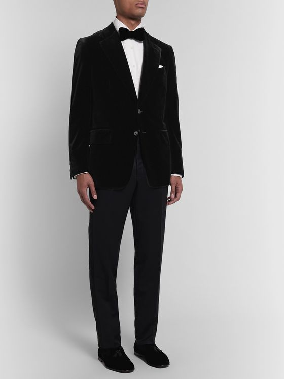 TOM FORD Black Shelton Slim-Fit Cotton-Velvet Tuxedo Jacket