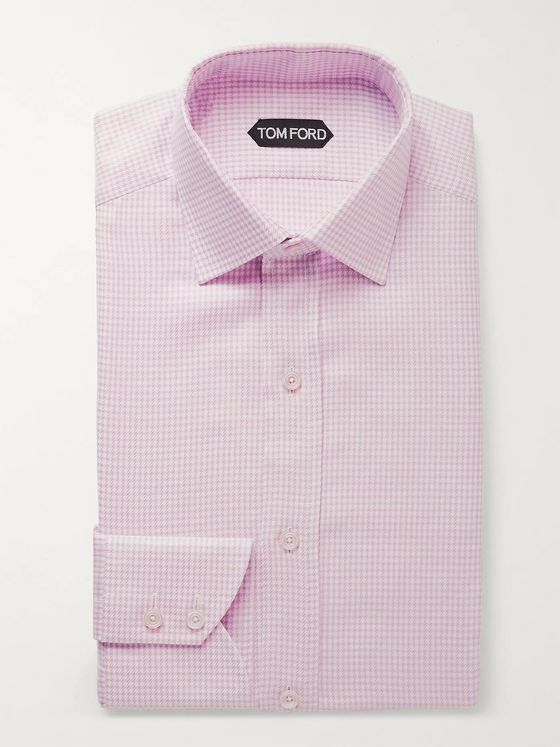 TOM FORD Pink Slim-Fit Cutaway-Collar Houndstooth Cotton Shirt