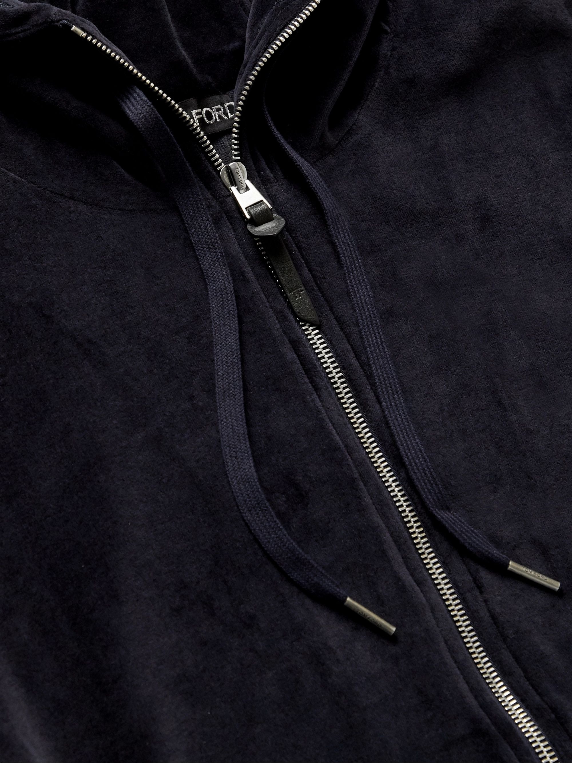 TOM FORD Cotton-Blend Velvet Zip-Up Hoodie