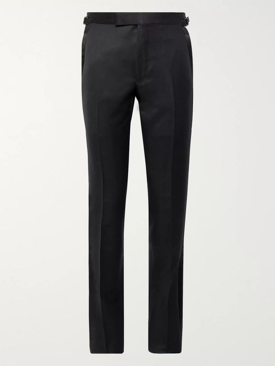TOM FORD Midnight-Blue Shelton Slim-Fit Satin-Trimmed Grain de Poudre Wool-Blend Tuxedo Trousers