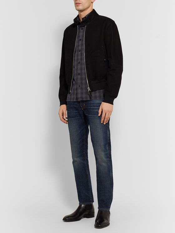 TOM FORD Slim-Fit Checked Cotton-Flannel Shirt