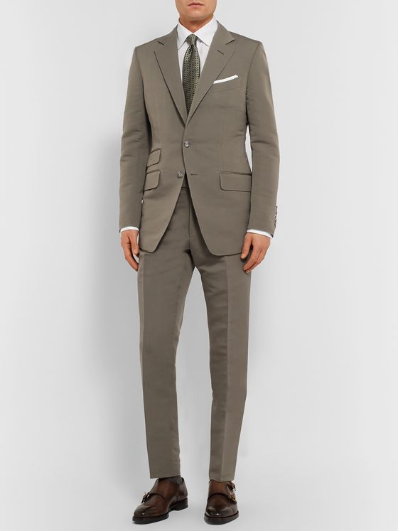TOM FORD Army-Green O'Connor Slim-Fit Cotton and Silk-Blend Suit Jacket