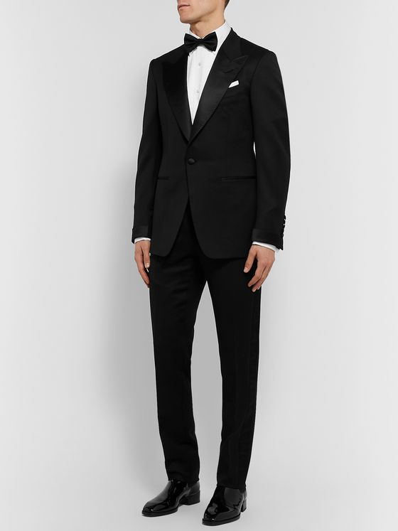 TOM FORD Black Shelton Slim-Fit Satin-Trimmed Wool and Mohair-Blend Tuxedo Jacket