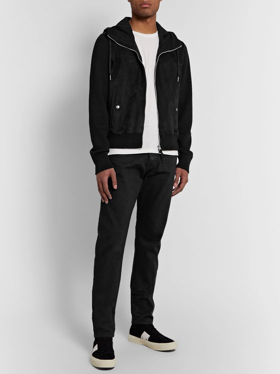 TOM FORD Slim-Fit Panelled Merino Wool and Suede Zip-Up Hoodie