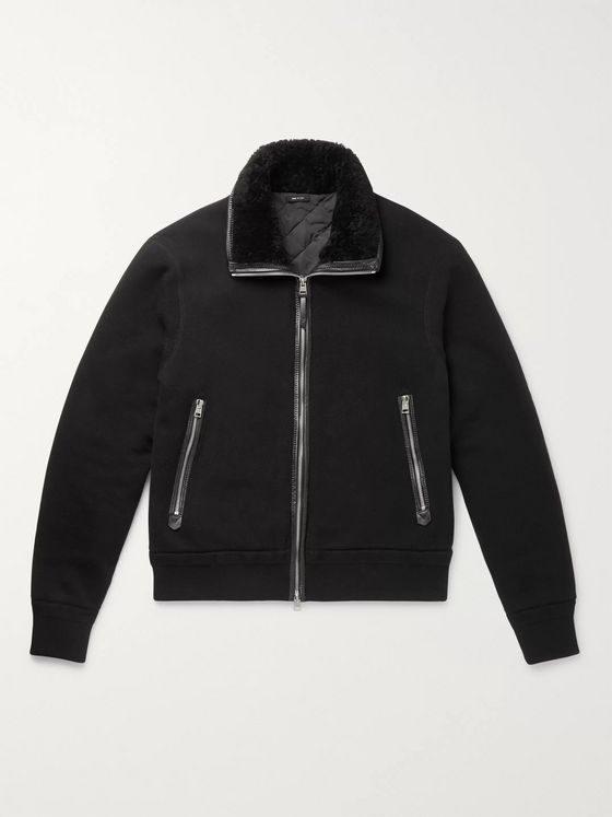 TOM FORD Shearling and Leather-Trimmed Cotton and Cashmere-Blend Jacket