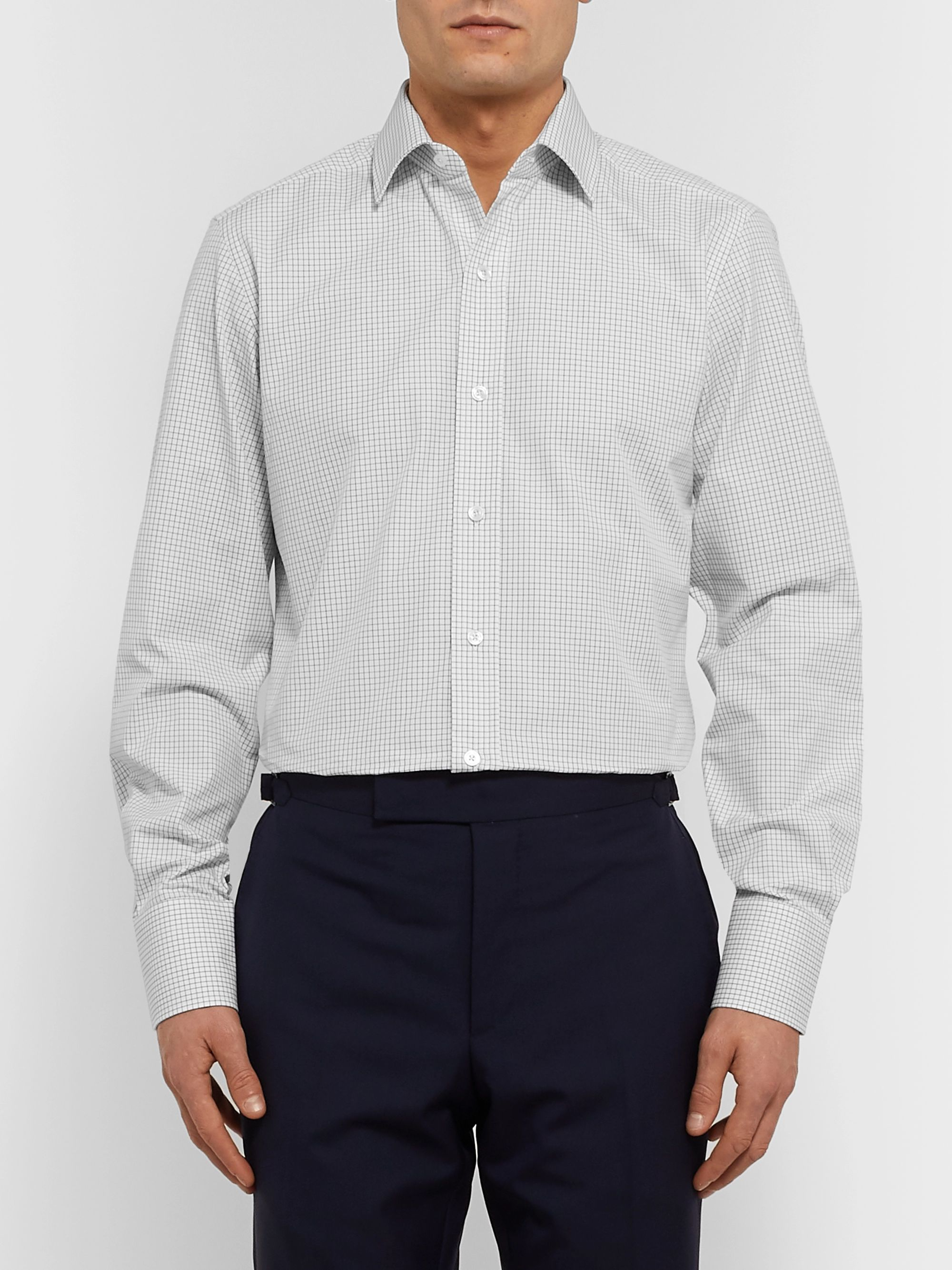 TOM FORD White Slim-Fit Checked Cotton-Poplin Shirt
