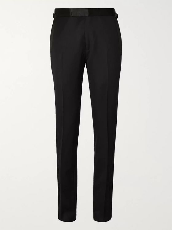TOM FORD Black Slim-Fit Satin-Trimmed Wool and Mohair-Blend Tuxedo Trousers