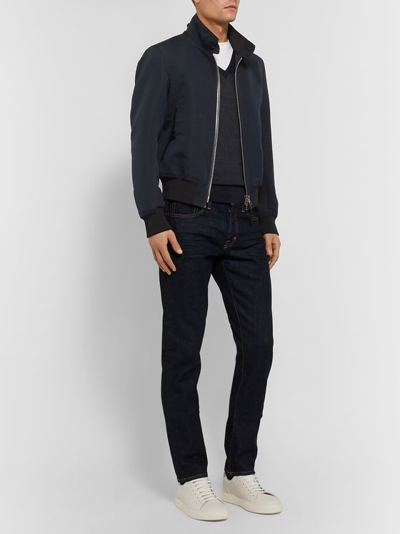 TOM FORD Leather-Trimmed Cotton and Silk-Blend Harrington Jacket