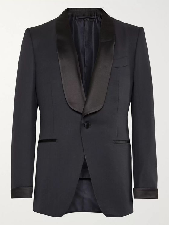 TOM FORD Midnight-Blue Satin-Trimmed Wool and Mohair-Blend Tuxedo Jacket