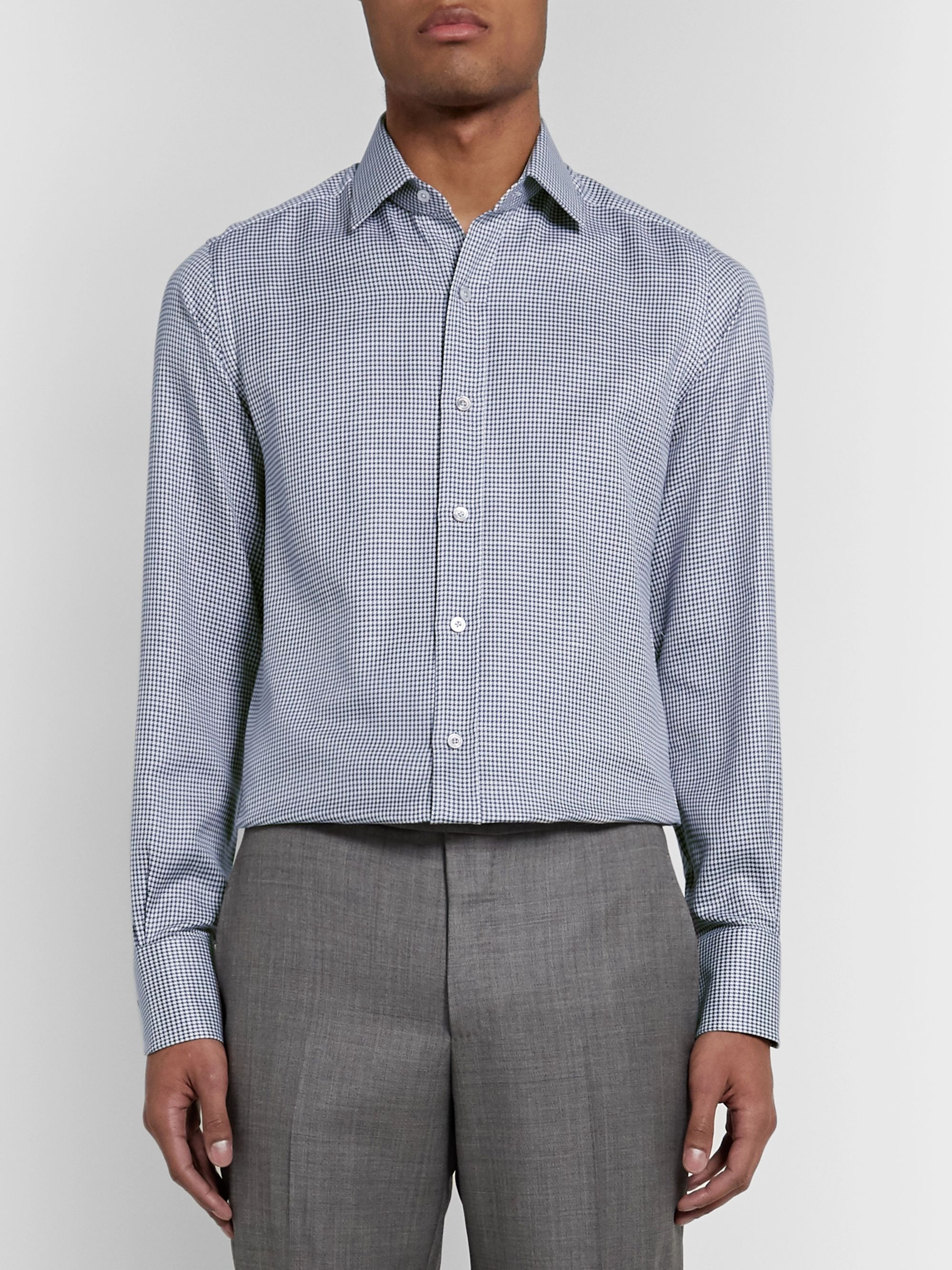 TOM FORD Blue Slim-Fit Cutaway-Collar Puppytooth Cotton Shirt