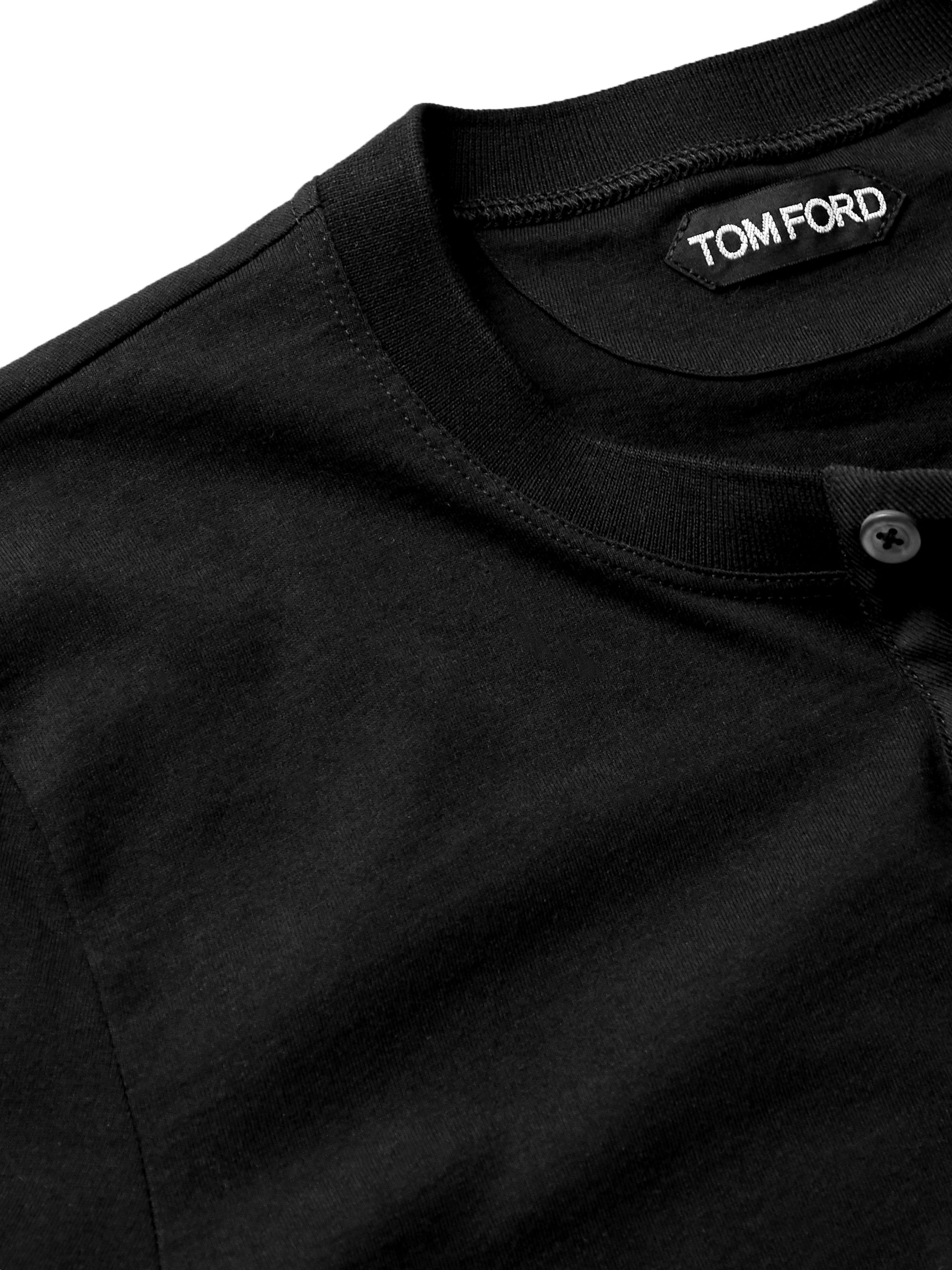 Black Slim-fit Cotton-jersey Henley T-shirt | Tom Ford