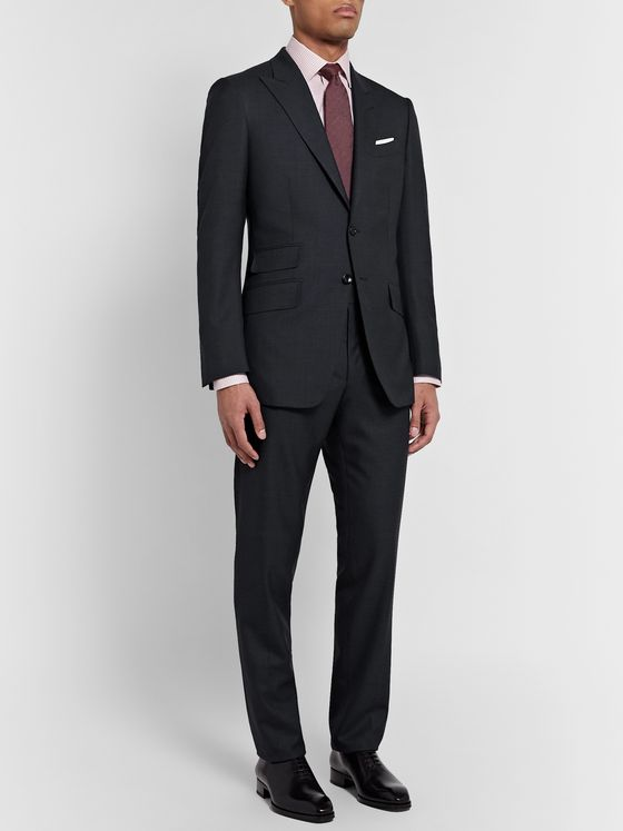 TOM FORD Navy O'Connor Slim-Fit Prince of Wales Checked Wool Suit Trousers