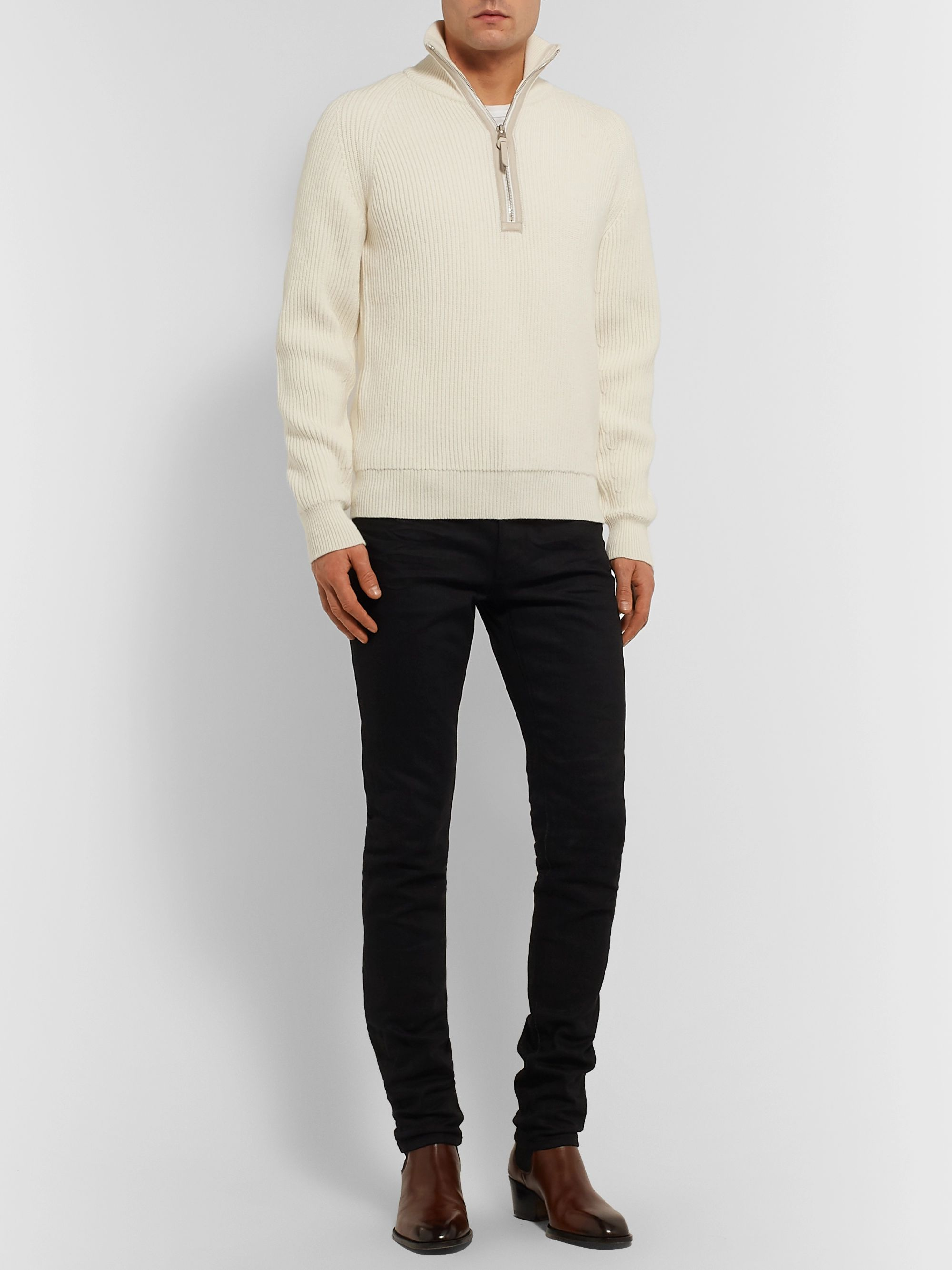 TOM FORD Slim-Fit Leather-Trimmed Ribbed Merino Wool and Cashmere-Blend Half-Zip Sweater