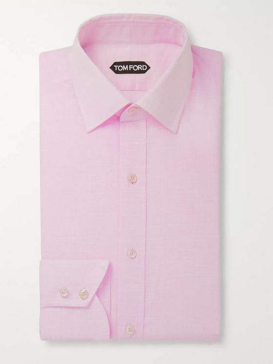 TOM FORD Pink Slim-Fit Prince of Wales Checked Cotton Shirt