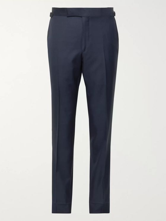 TOM FORD Navy Slim-Fit Super 110s Sharkskin Wool Suit Trousers