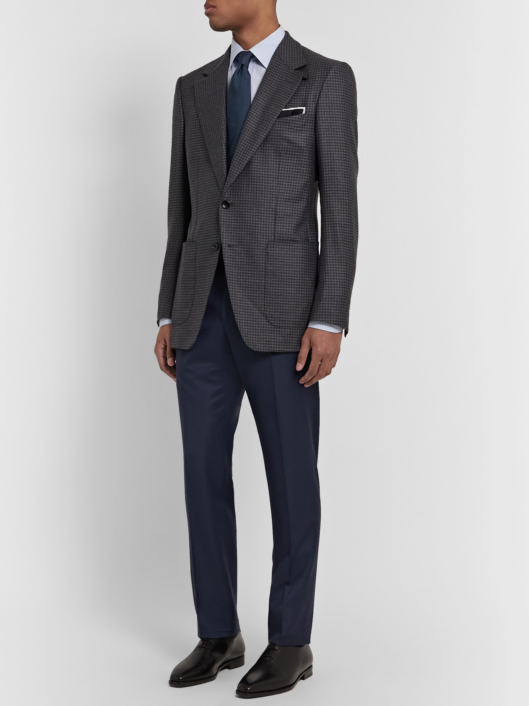 TOM FORD Navy Slim-Fit Super 110s Wool-Sharkskin Suit Trousers