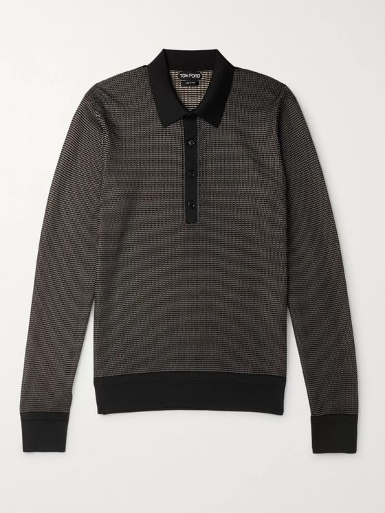 TOM FORD Silk-Jacquard Polo Shirt