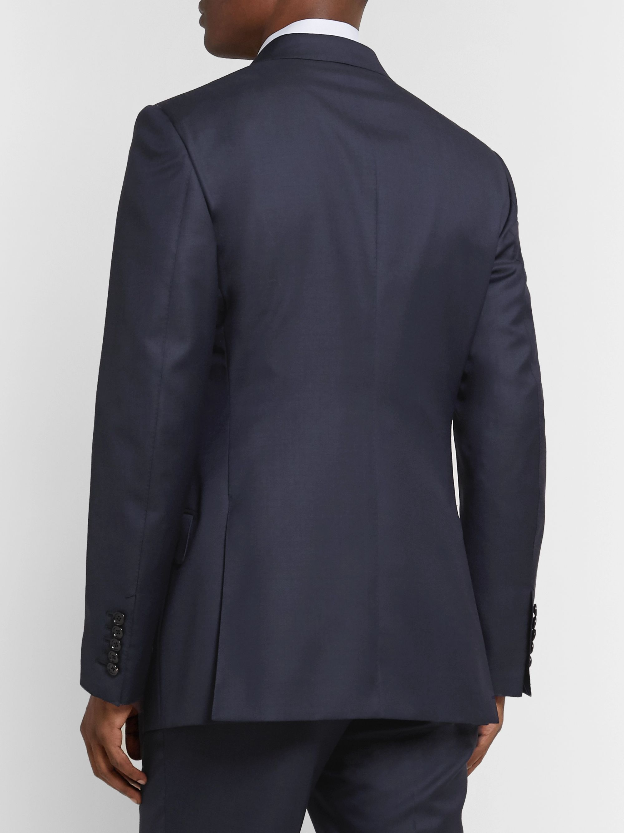 TOM FORD Navy O'Connor Slim-Fit Super 110s Wool-Sharkskin Suit Jacket