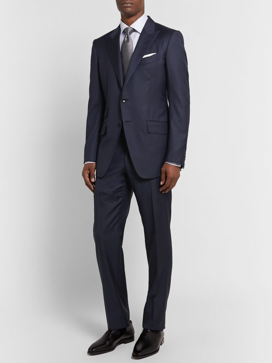TOM FORD Navy O'Connor Slim-Fit Super 110s Sharkskin Wool Suit Jacket
