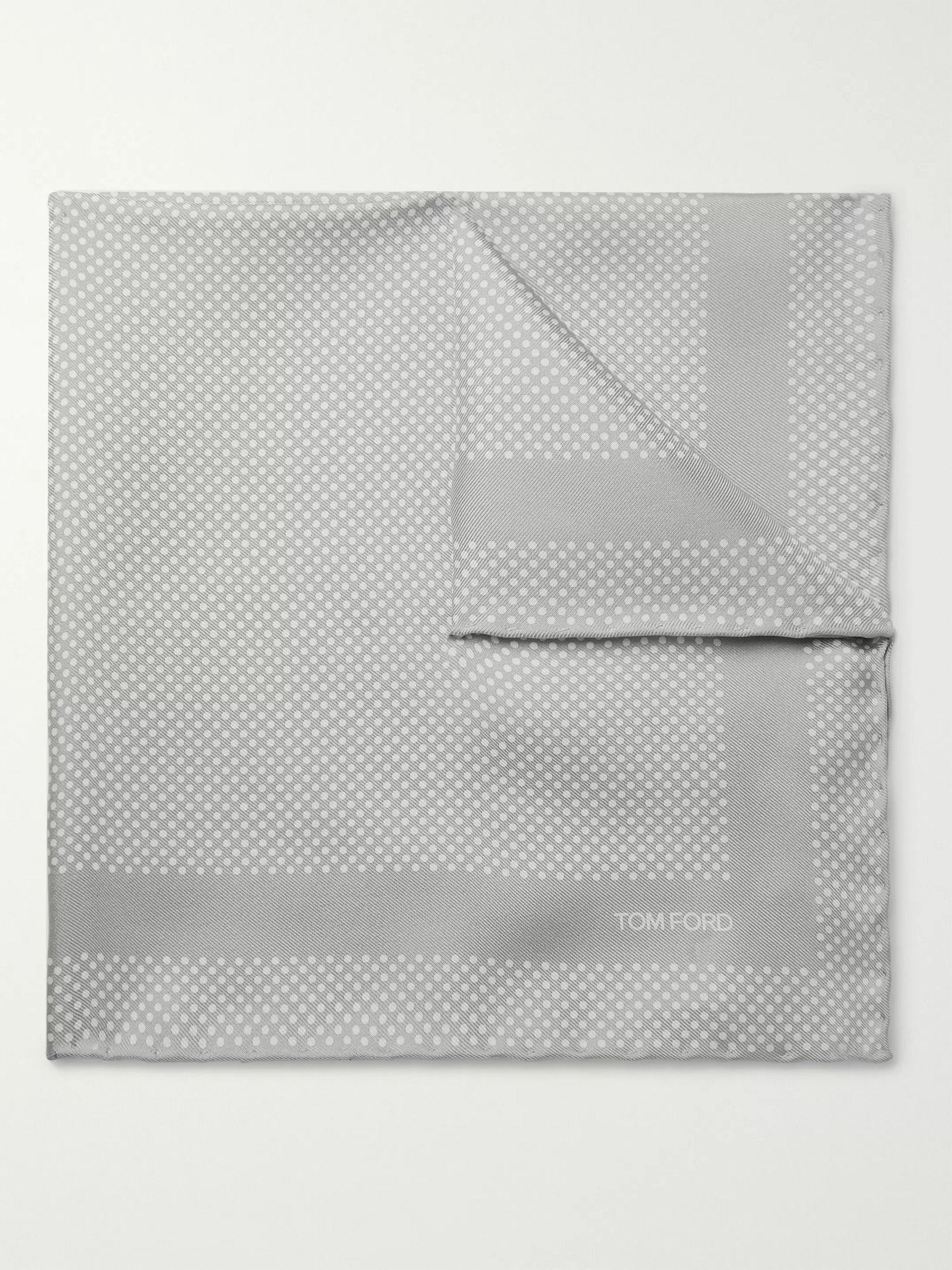 Gray Polka-Dot Silk-Twill Pocket Square | TOM FORD | MR PORTER