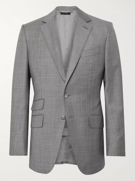 TOM FORD Grey O'Connor Slim-Fit Super 110s Sharkskin Wool Suit Jacket