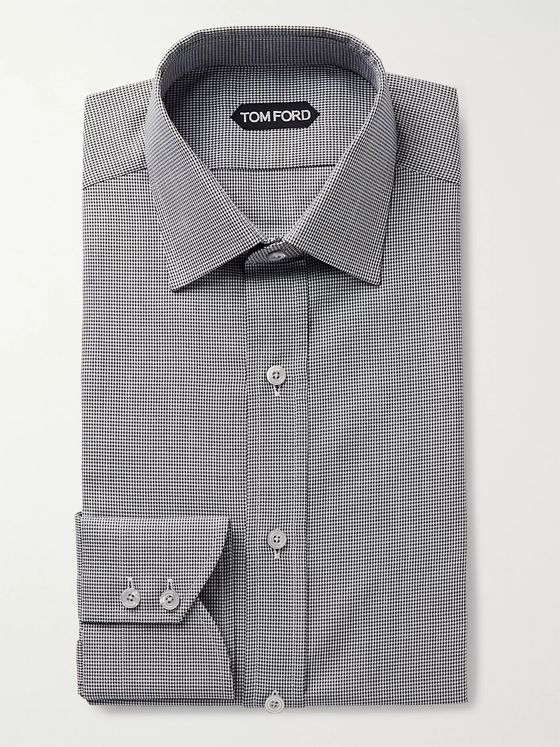 TOM FORD Black Slim-Fit Puppytooth Cotton-Poplin Shirt